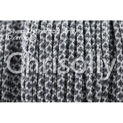 US - Cord  Typ 2 Silver & Charcoal Grey Diamonds