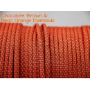 US - Cord  Typ 3 Chocolate Brown & Neon Orange Diamonds