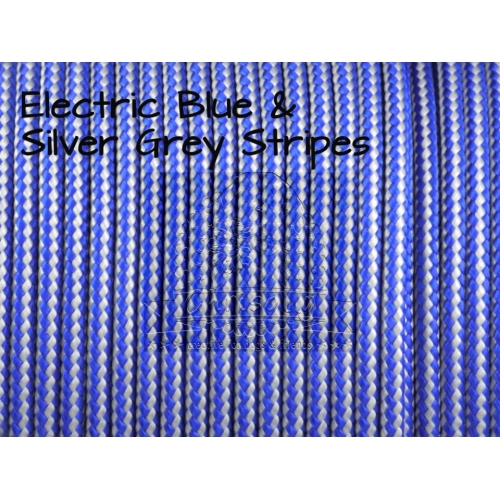 US - Cord  Typ 2 Electric Blue & Silver Grey Stripes